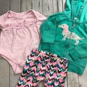OshKosh B'gosh Matching Sets - Cute 6 Month Baby Girl Pink Outfit Hoodie Dog